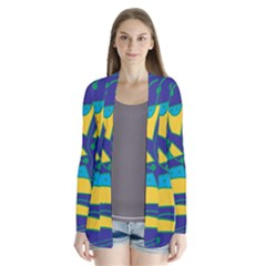 Playful Abstract Art - Blue And Yellow Drape Collar Cardigan by Valentinaart