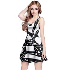 Playful Abstract Art   Black And White Reversible Sleeveless Dress by Valentinaart