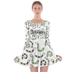 Green Worms Long Sleeve Skater Dress by Valentinaart