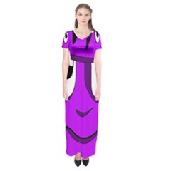 Halloween   Purple Frankenstein Short Sleeve Maxi Dress by Valentinaart