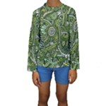 Green Boho Flower Pattern Zz0105  Kid s Long Sleeve Swimwear