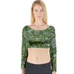 Green Boho Flower Pattern Zz0105  Long Sleeve Crop Top