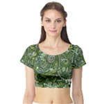 Green Boho Flower Pattern Zz0105  Short Sleeve Crop Top (Tight Fit)