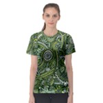 Green Boho Flower Pattern Zz0105  Women s Sport Mesh Tee