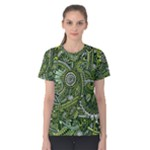 Green Boho Flower Pattern Zz0105  Women s Cotton Tee