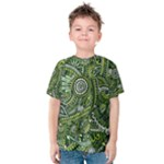 Green Boho Flower Pattern Zz0105  Kid s Cotton Tee