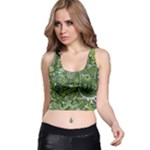 Green Boho Flower Pattern Zz0105  Racer Back Crop Top