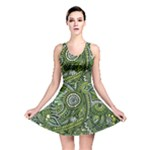 Green Boho Flower Pattern Zz0105  Reversible Skater Dress