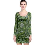 Green Boho Flower Pattern Zz0105  Long Sleeve Bodycon Dress