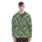 Green Boho Flower Pattern Zz0105  Hooded Wind Breaker (Men)