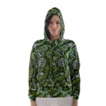 Green Boho Flower Pattern Zz0105  Hooded Wind Breaker (Women)