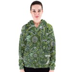 Green Boho Flower Pattern Zz0105  Women s Zipper Hoodie
