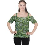 Green Boho Flower Pattern Zz0105  Women s Cutout Shoulder Tee