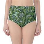 Green Boho Flower Pattern Zz0105  High-Waist Bikini Bottoms