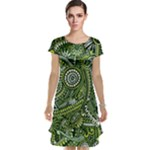 Green Boho Flower Pattern Zz0105  Cap Sleeve Nightdress