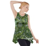 Green Boho Flower Pattern Zz0105  Side Drop Tank Tunic