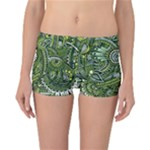 Green Boho Flower Pattern Zz0105  Reversible Boyleg Bikini Bottoms