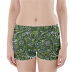 Green Boho Flower Pattern Zz0105  Boyleg Bikini Wrap Bottoms