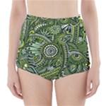 Green Boho Flower Pattern Zz0105  High-Waisted Bikini Bottoms