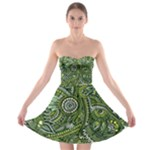 Green Boho Flower Pattern Zz0105  Strapless Dresses