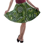 Green Boho Flower Pattern Zz0105  A-line Skater Skirt