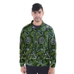 Green Boho Flower Pattern Zz0105  Wind Breaker (Men)