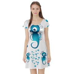 Seahorsesb Short Sleeve Skater Dress by vanessagf