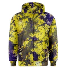 Yellow And Purple Splatter Paint Pattern Men s Zipper Hoodie