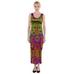 Carpe Diem In Rainbows Fitted Maxi Dress by pepitasart