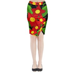 Red Flowers Midi Wrap Pencil Skirt by Valentinaart