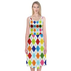 Rainbow Argyle Midi Sleeveless Dress by Contest2473766