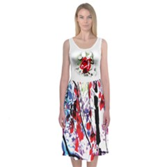 Snow Flower Midi Sleeveless Dress by Contest2483978