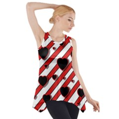 Black And Red Harts Side Drop Tank Tunic by Valentinaart