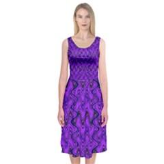 Purple Wavey Squiggles Midi Sleeveless Dress by BrightVibesDesign
