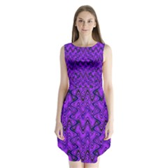 Purple Wavey Squiggles Sleeveless Chiffon Dress   by BrightVibesDesign
