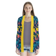 Colorful Floral Pattern Drape Collar Cardigan by DanaeStudio