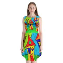 Two Houses  Sleeveless Chiffon Dress   by Valentinaart