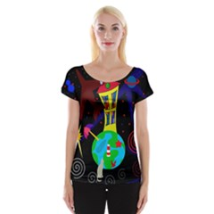 Colorful Universe Women s Cap Sleeve Top by Valentinaart