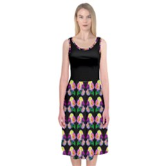 Pink Yellow Roses On Black Midi Sleeveless Dress by Contest2398499