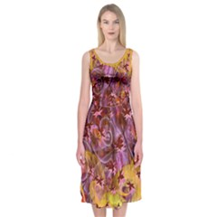 Falling Autumn Leaves Midi Sleeveless Dress by Contest2489503