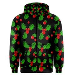 Christmas Berries Pattern  Men s Zipper Hoodie