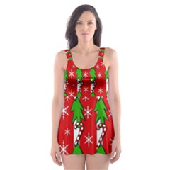 Christmas Tree Pattern   Red Skater Dress Swimsuit by Valentinaart