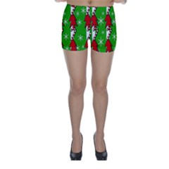 Christmas Pattern   Green Skinny Shorts by Valentinaart