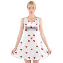 Cute Hearts Motif Pattern V Neck Sleeveless Skater Dress by dflcprintsclothing