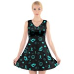 POTS Mermaid Print V-Neck Sleeveless Skater Dress