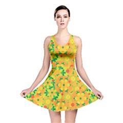 Christmas Decor   Yellow Reversible Skater Dress by Valentinaart