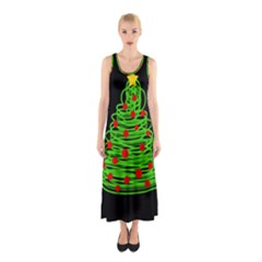 Christmas Tree Sleeveless Maxi Dress by Valentinaart