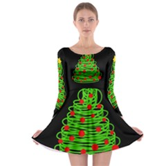 Christmas Tree Long Sleeve Skater Dress by Valentinaart