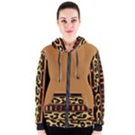 Tan and Black Leopard Print Women s Zipper Hoodie