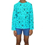 POTS Mermaid Print In Turquoise Kid s Long Sleeve Swimwear